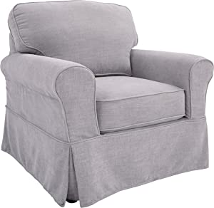 OSP Home Furnishings Ashton Slipcover Round Arm Chair, Grey