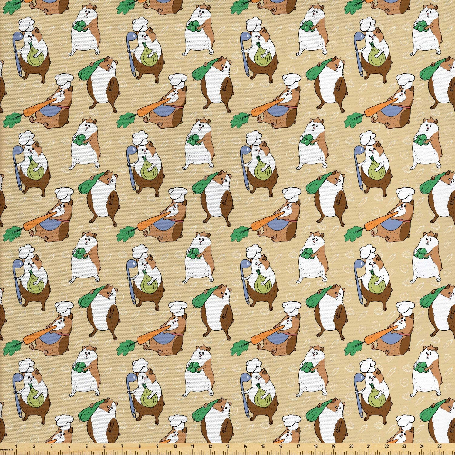 Lunarable Guinea Pig Fabric by The Yard, Chef Teddy Pigs Carrying Carrot Onion Ladle and Green Beans on Doodled Backdrop, Decorative Fabric for Upholstery and Home Accents, 1 Yard, Brown Camel
