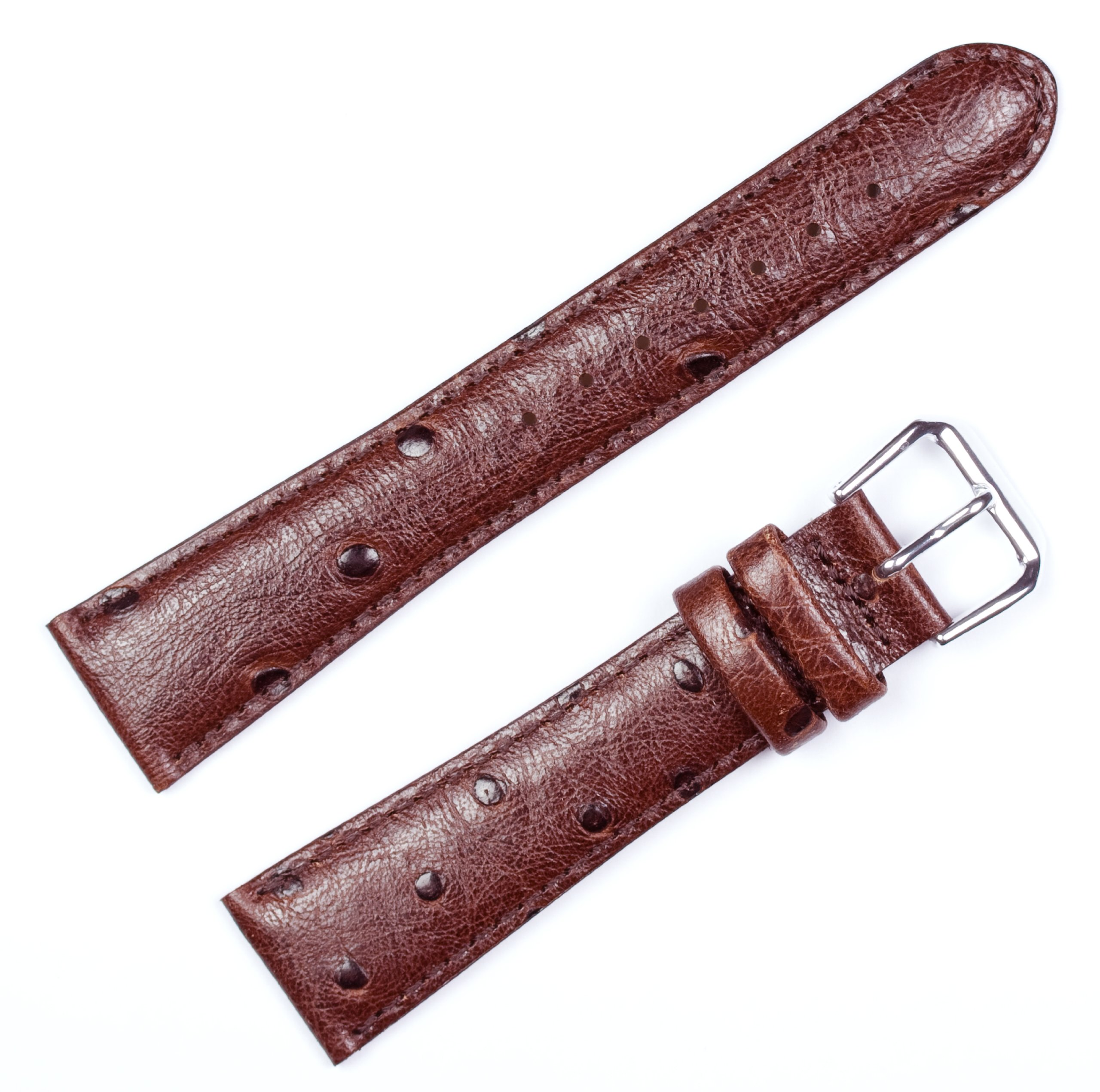 Ostrich Grain Watch Band - Brown 19MM
