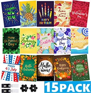 """Mogarden Seasonal Garden Flags Set - 15 Pack, Free 2 Stopper & 2 Wind Clip, Double Sided Yard Flags, 12"""" x 18"""" Size, Thick Weatherproof Polyester"""