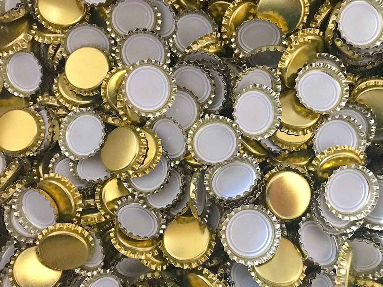 AE-GLAS 25, 50, 100 o 125 unidades, chapas doradas, 26 mm sin perforar, para botellas de cerveza, botellas de limonada y para cerrar cualquier botella estándar (50 unidades)