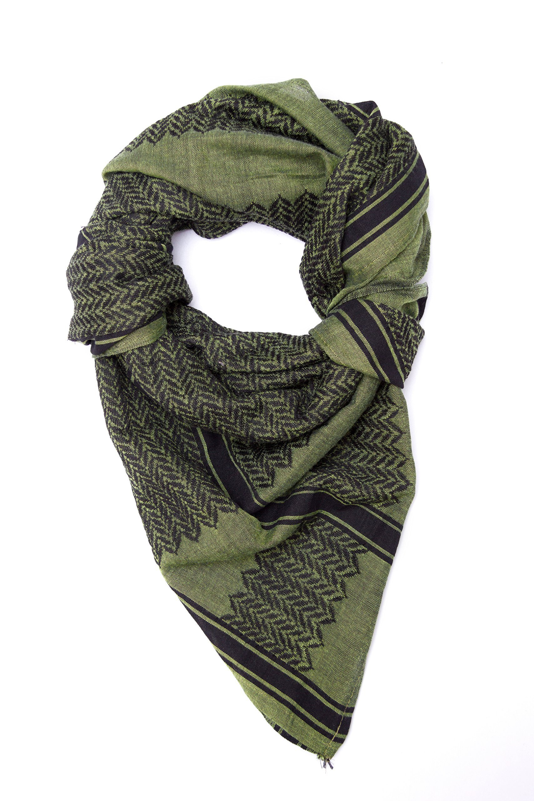 Premium Tactical Shemagh, 100% Cotton 47''x47'' Arab Scarf Shemagh Keffiyeh (Olive Drab)