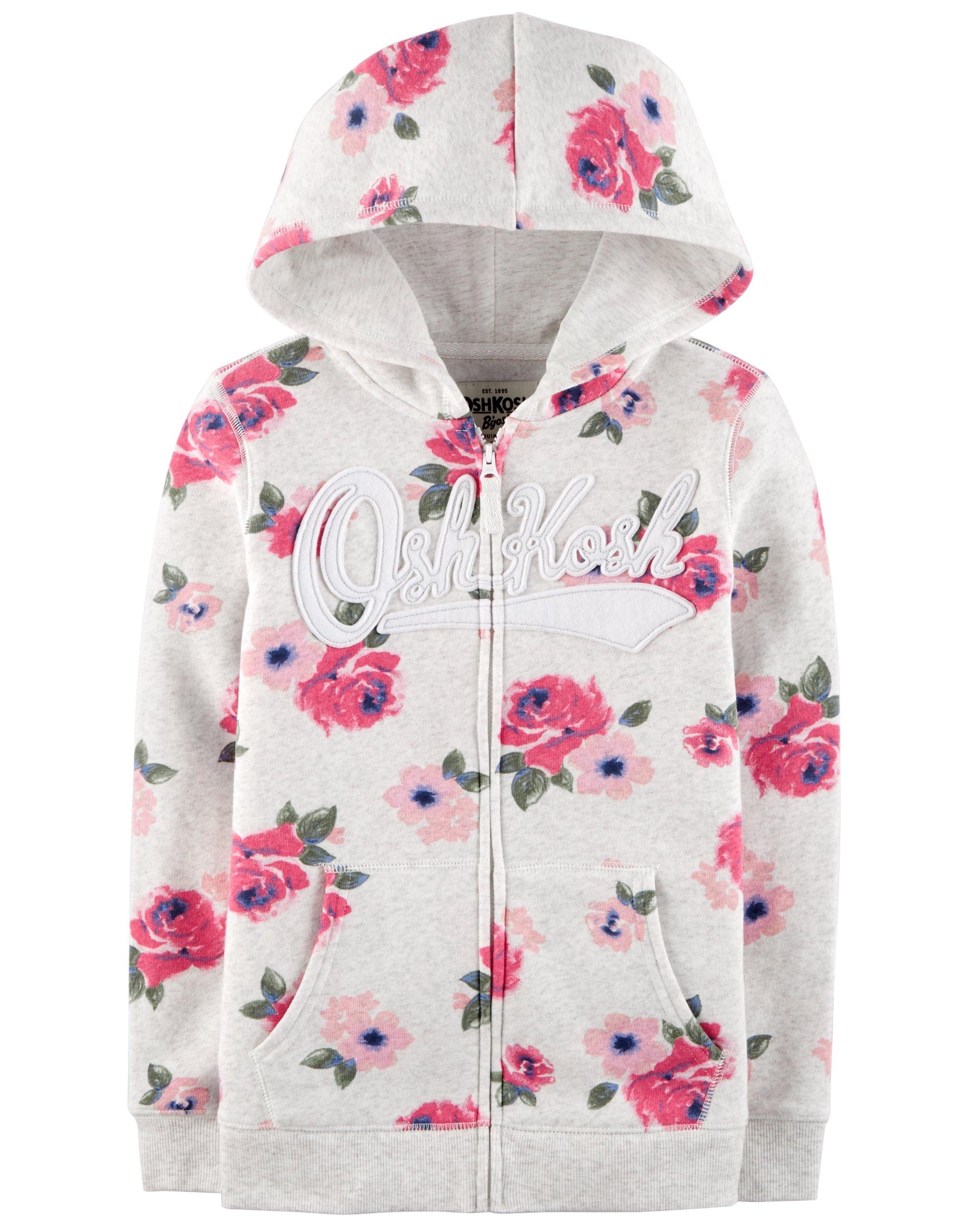 Osh Kosh Girls' Toddler Full Zip Logo Hoodie, Grey Floral, 4T