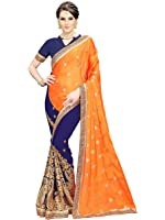 Siddeshwary Fab Women's Georgette And Silk Saree With Blouse Piece ( Orange | Blue )