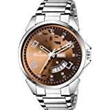 Buccachi Mens Analog Wrist Watches with Siler Dial Date | Water Resistent Watches | Mens Stainless Steel Watches