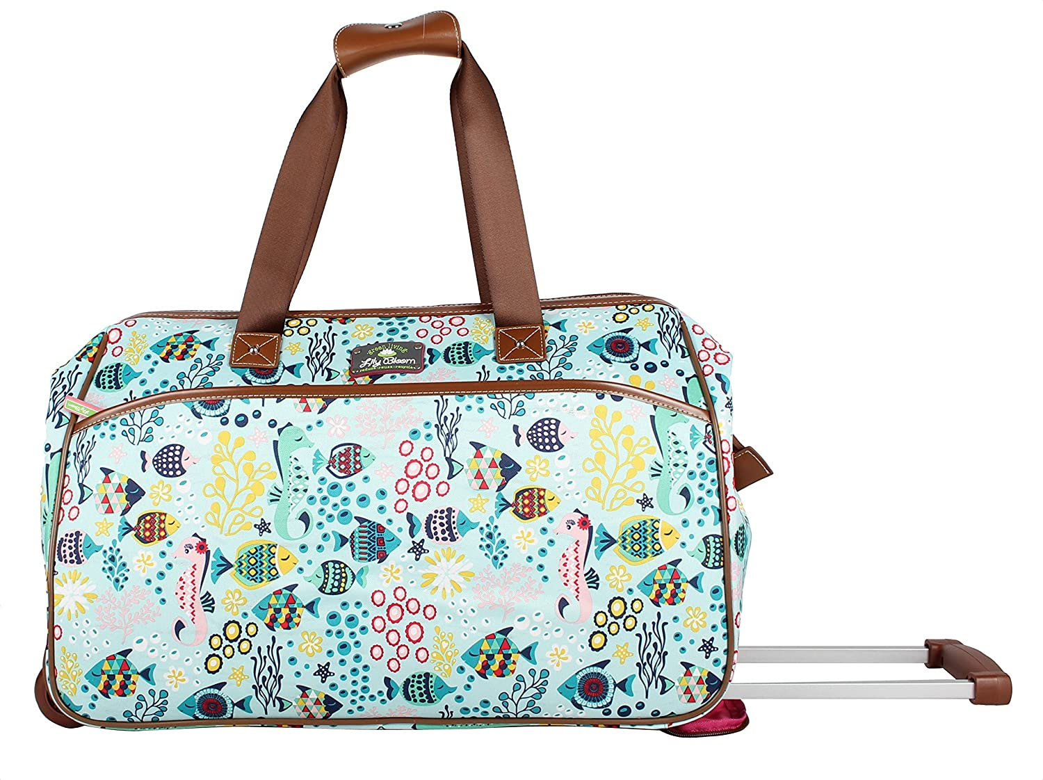 aac0e21638 Lily Bloom Luggage Designer Pattern Suitcase Wheeled Duffel Carry On Bag  (14in