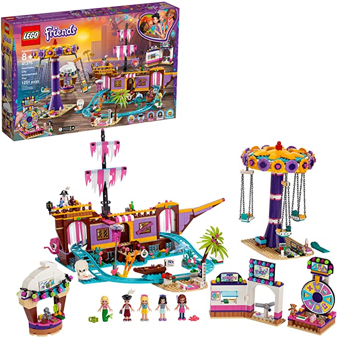 LEGO Friends Heartlake City Amusement Pier 41375 Toy Rollercoaster Building Kit with Mini Dolls and Toy Dolphin, Build and Play Set Includes Toy Carousel, Ticket Kiosk and More (1,251 Pieces) | Amazon