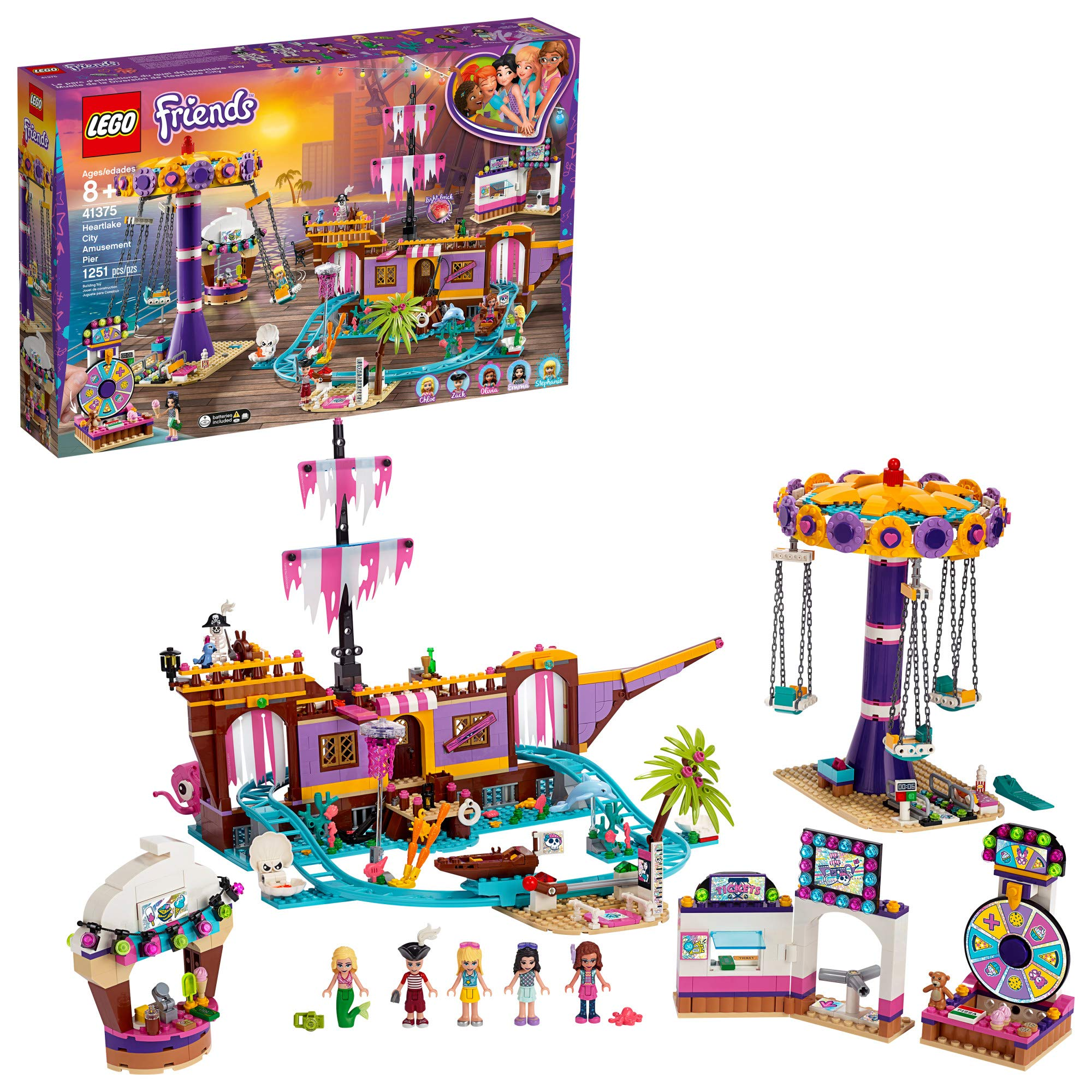LEGO Friends Heartlake City Amusement Pier 41375 Toy Rollercoaster Building Kit with Mini Dolls and Toy Dolphin, Build and Play Set includes Toy Carousel, Ticket Kiosk and more, New 2019 (1251 Pieces) by LEGO