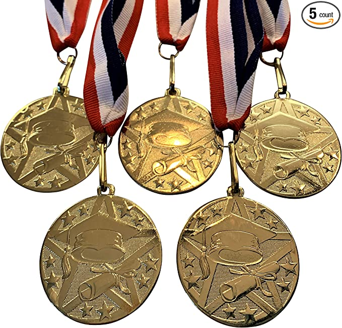 Express Medals 1 to 50 Packs Kindergarten Graduation Gold Medal Trophy Award with Neck Ribbon D03-FCL499