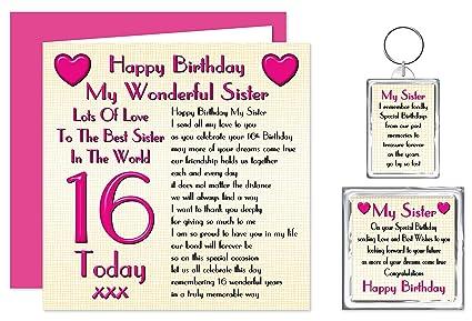 Hermana 16th tarjeta del feliz cumpleaños con extraíble - 16 ...