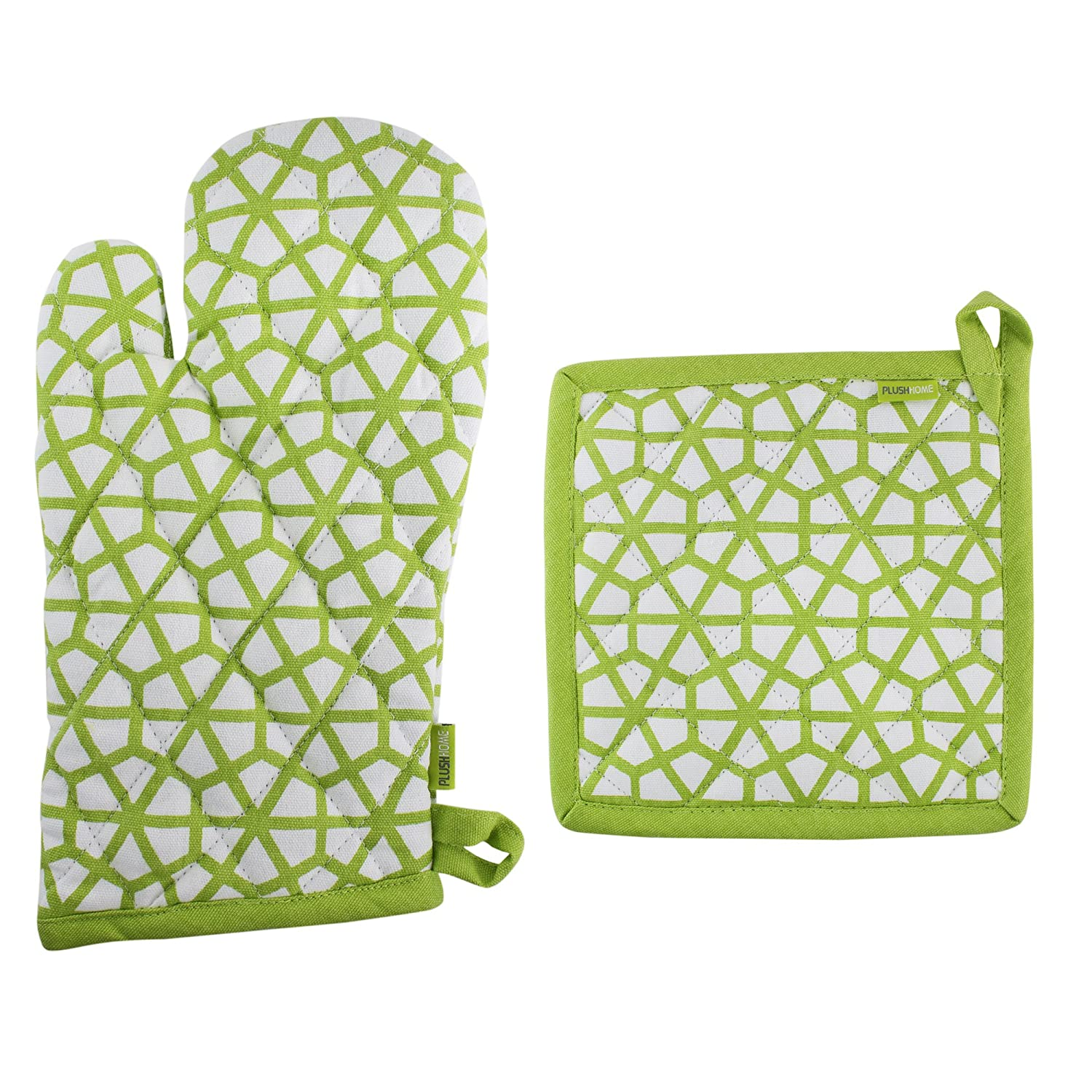 "Pot Holder And Oven Mitt Set, 100% Cotton, Set of 1 Oven mitten of Size 7""X12 Inch & 1 Potholder of Size 8""X8 Inch, Eco - Friendly & Safe, Green, The Hive in Lime Design for Kitchen"