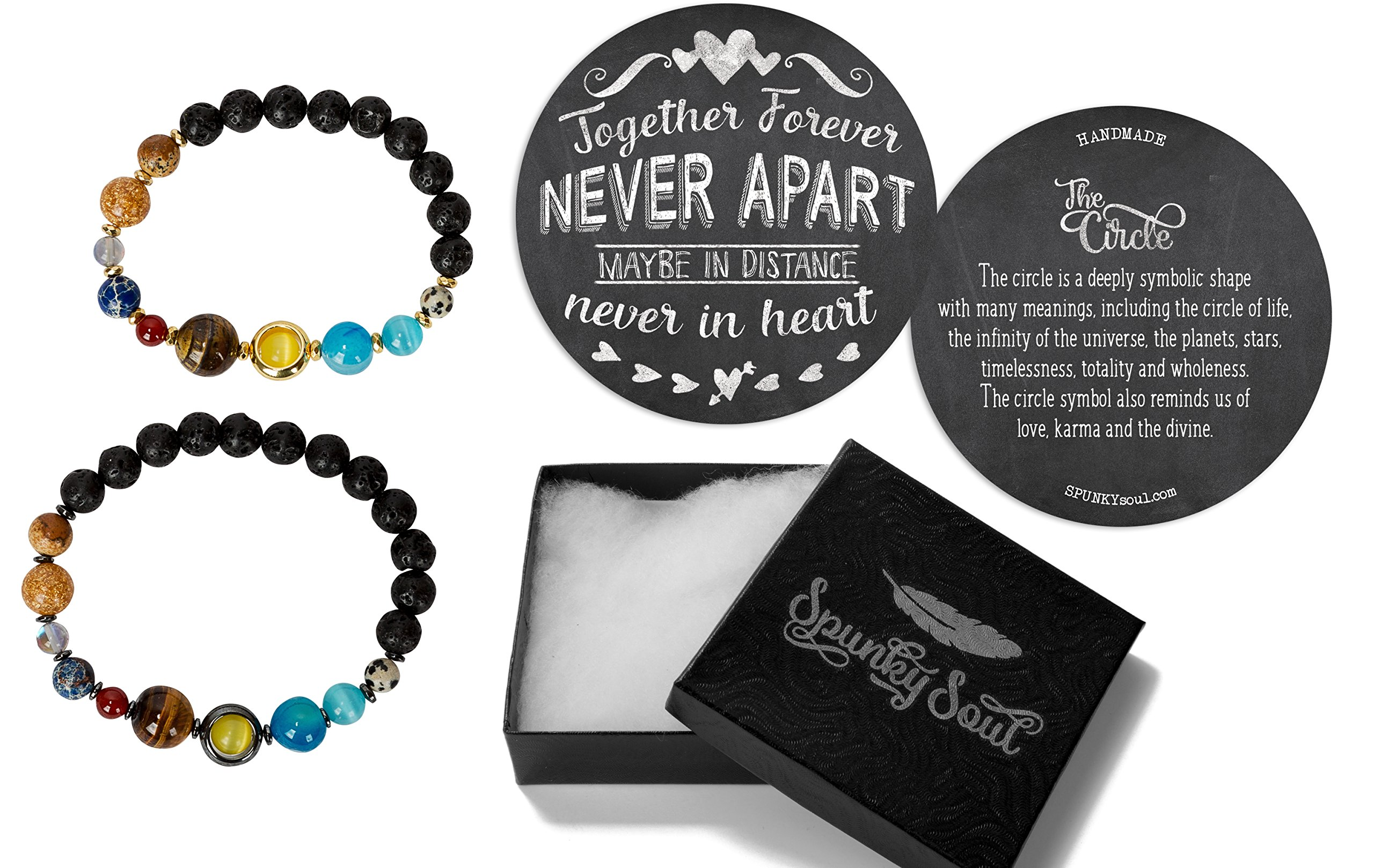 SPUNKYsoul Solar System Earth Planets Bracelet Universe Galaxy Couples Long Distance for His and Hers Women and Men Jewelry Gifts Space Collection