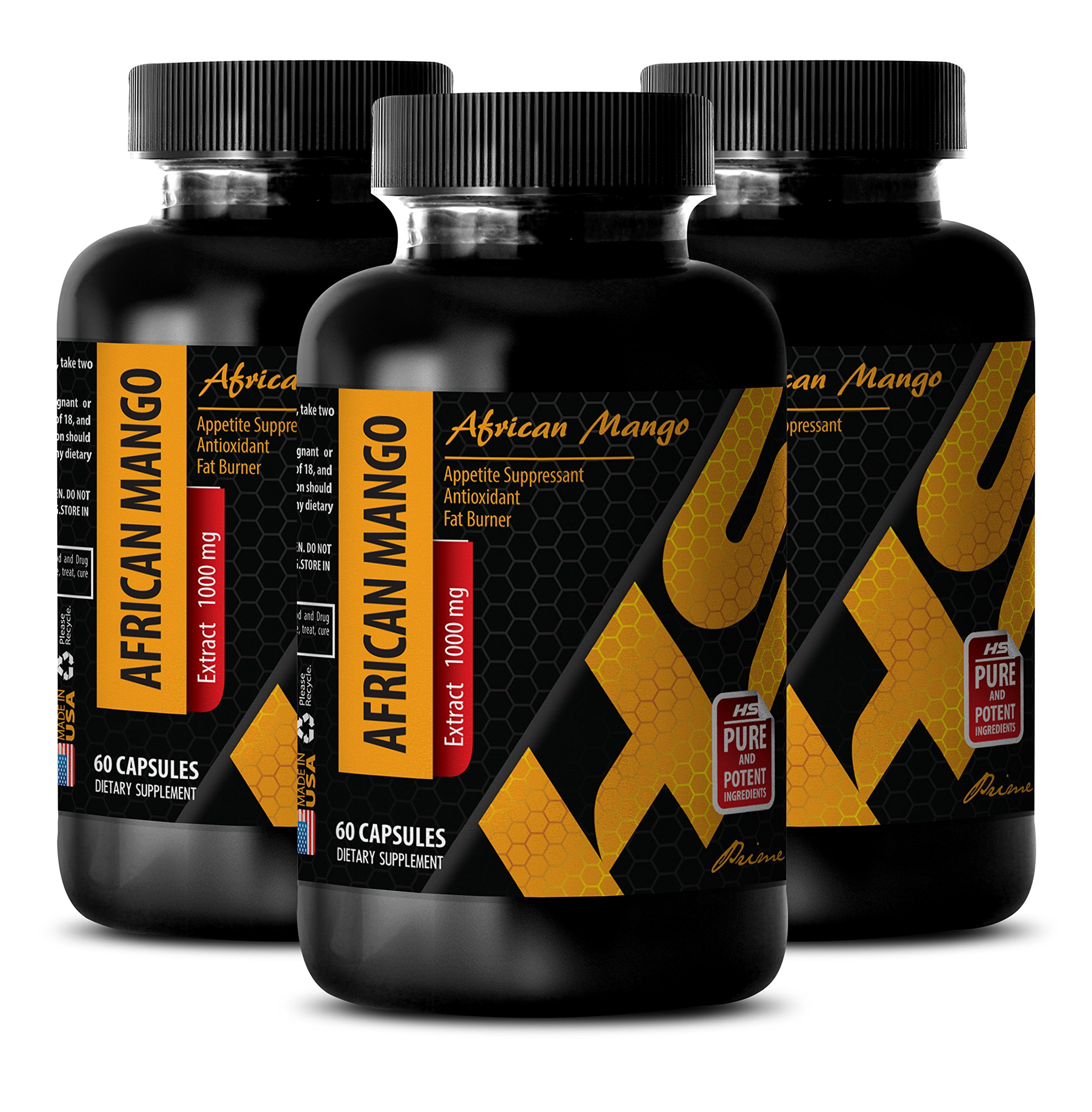 Weight loss supplements for men - AFRICAN MANGO EXTRACT - Natural fat burner pills - 3 Bottles 180 Capsules