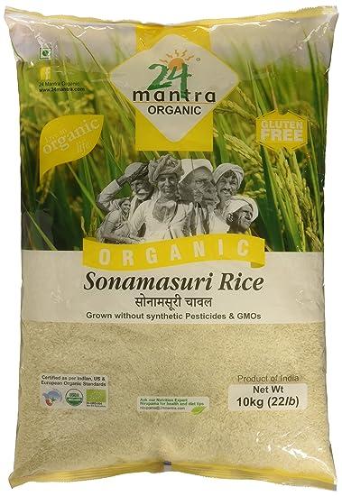 24 Mantra Organic Sonamasuri Raw Rice Polished, 10kg