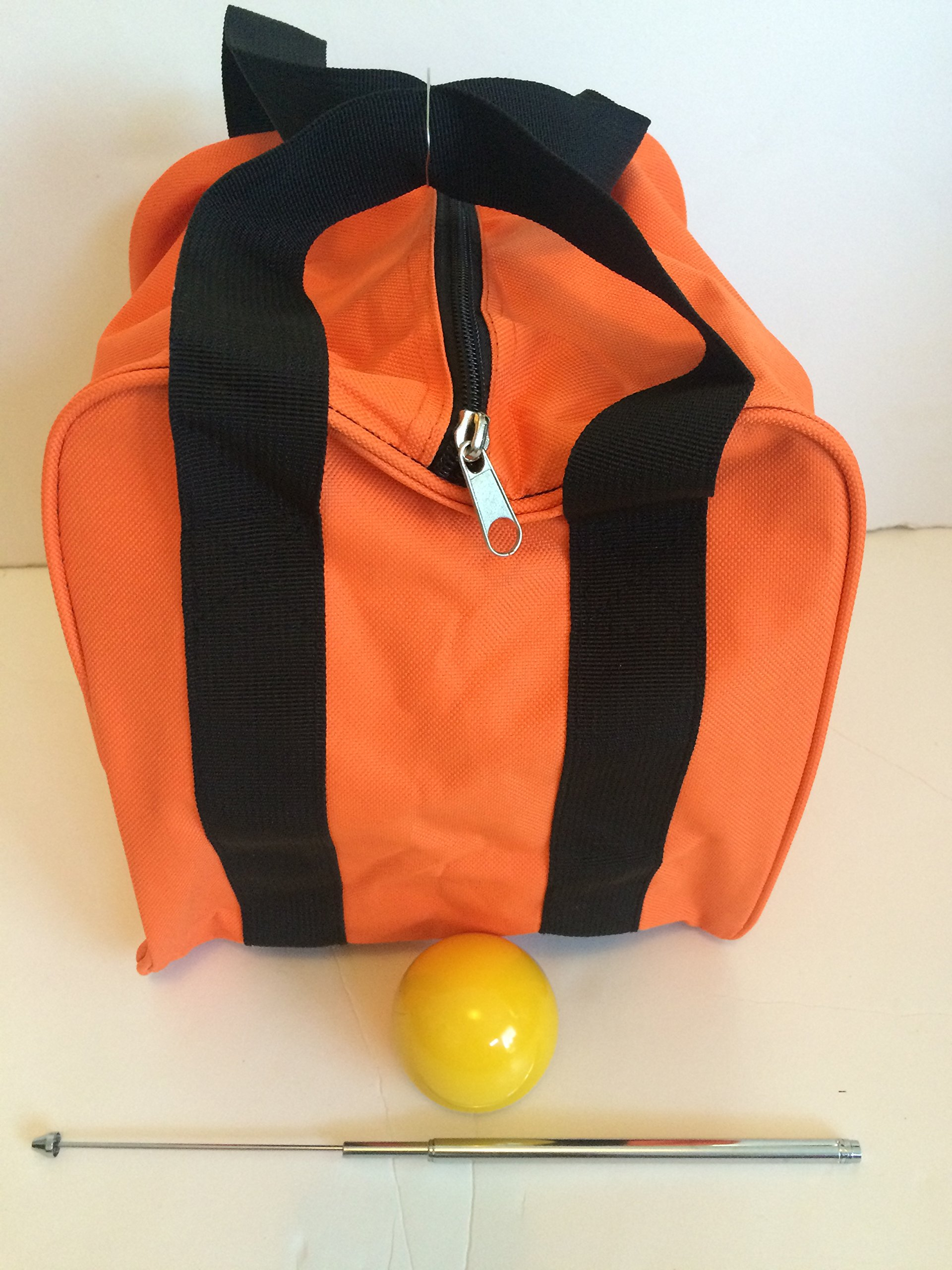 Unique Bocce Accessories Package - Extra Heavy Duty Nylon Bocce Bag (Orange with Black Handles), Yellow pallina, Extendable Measuring Device