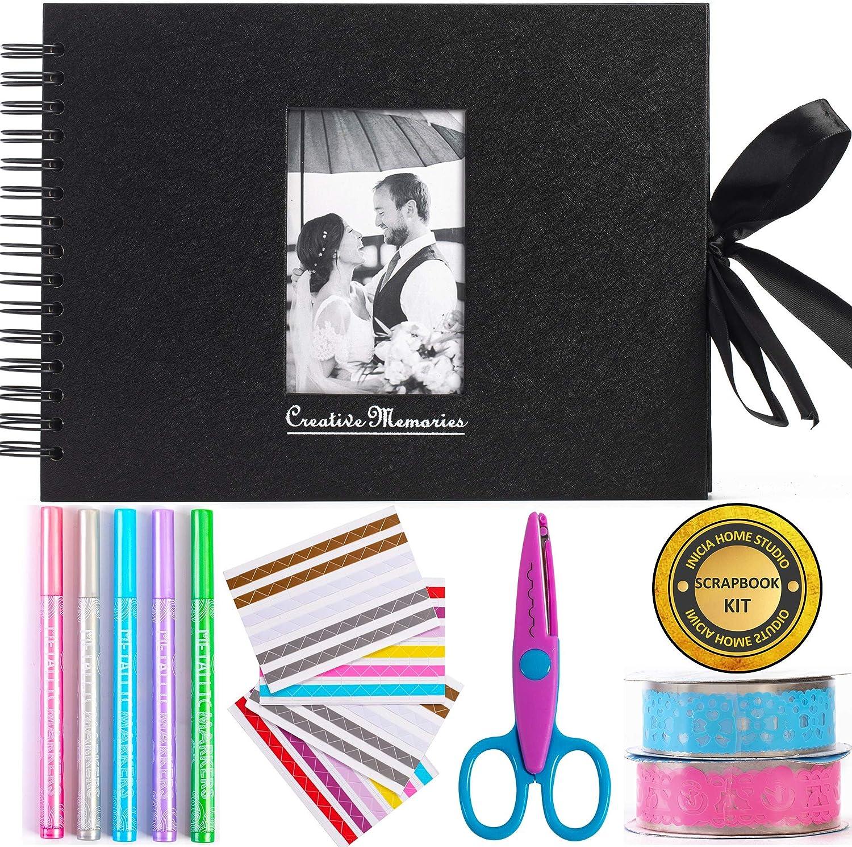 Álbum de fotos para álbumes de recortes Inicia, 80 páginas, kit con 5 bolígrafos metálicos, tijeras y 216 esquinas de fotos más 2 rollos de cintas de encaje, perfecto para regalos o para ti mismo.