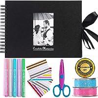 Álbum de fotos para álbumes de recortes Inicia, 80 páginas, kit con 5 bolígrafos metálicos, tijeras y 216 esquinas de…