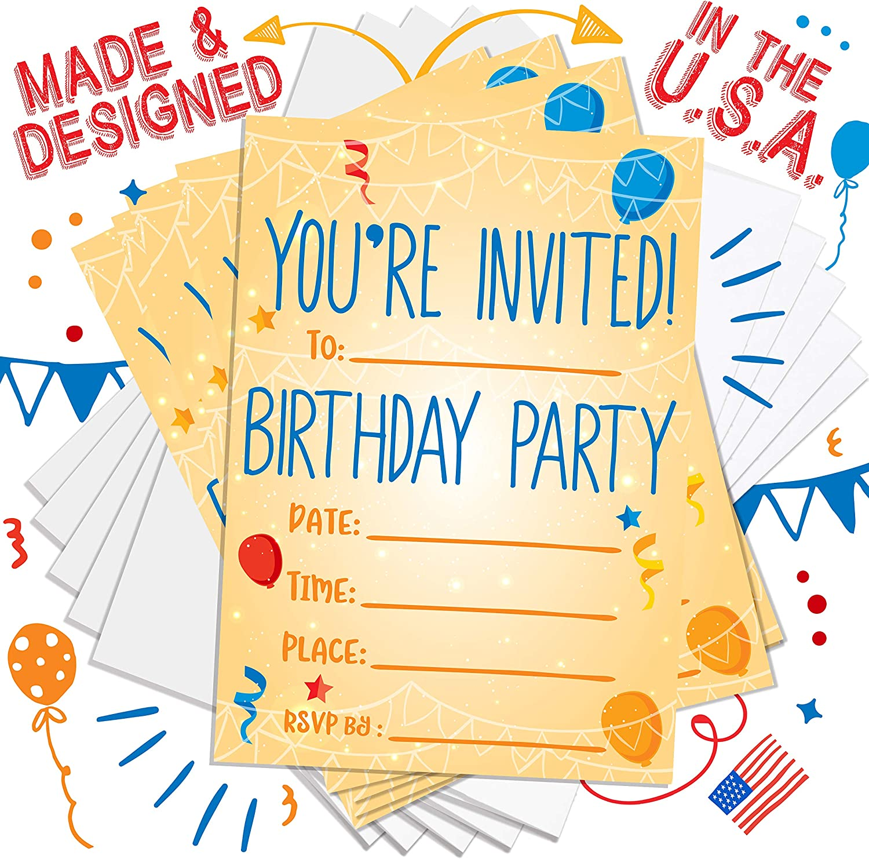 Amazon.com: Invitaciones de fiesta para niños, niñas, niños ...
