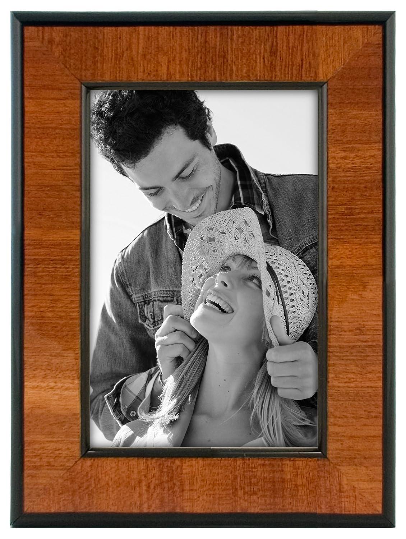 Malden International Designs Burl Wood Walnut Wooden Picture Frame with Black Border, 4x6, Walnut 602-46
