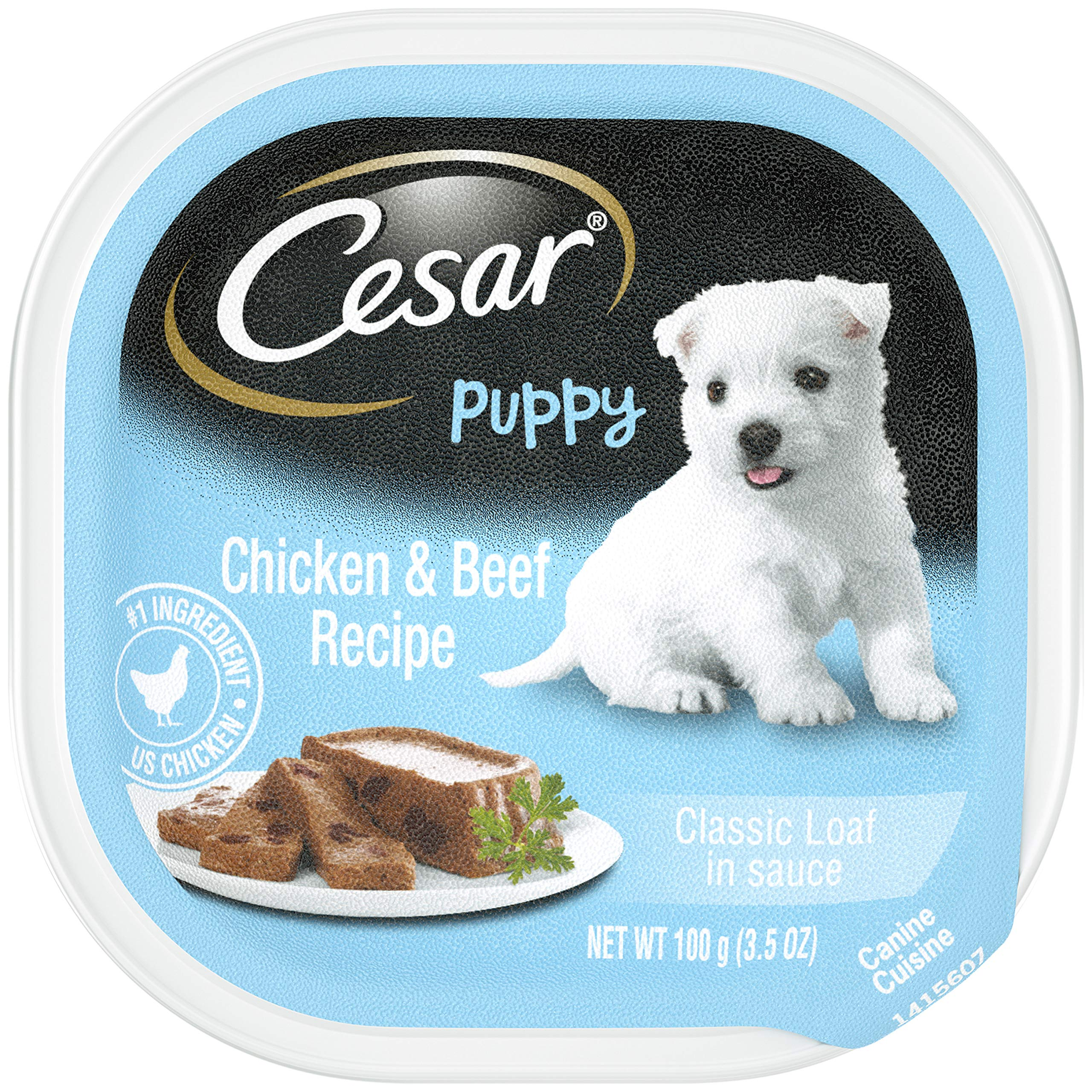 CESAR Puppy Soft Wet Dog Food Classic Loaf in sauce Chicken & Beef Recipe, (24) 3.5 oz. Easy Peel Trays by Cesar