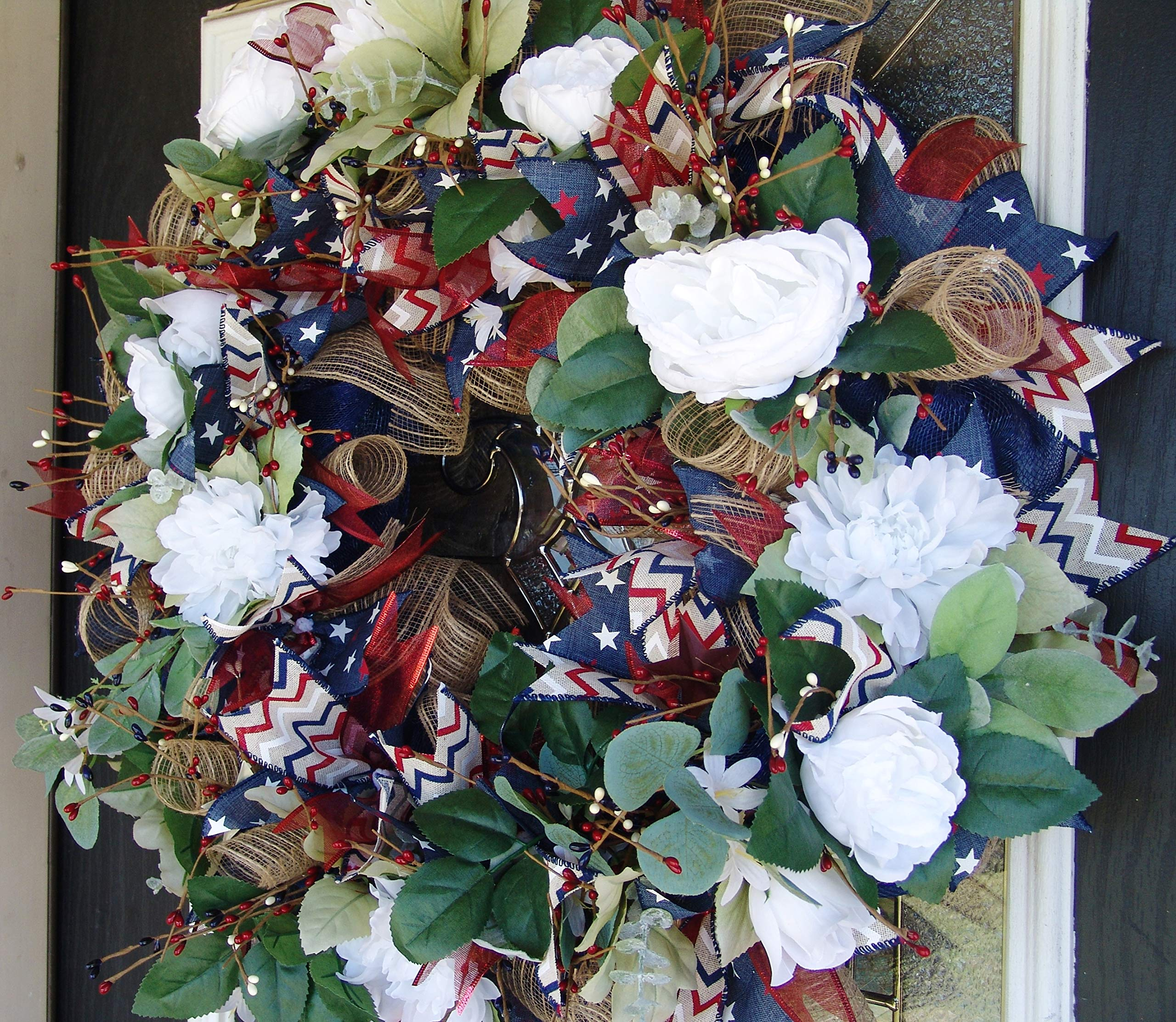 GORGEOUS Garden Floral Patriotic Front Door Deco Mesh Wreath, Pip Berry, Chevron, Stars and Stripes, Summer Decor, 4th of July Decoration