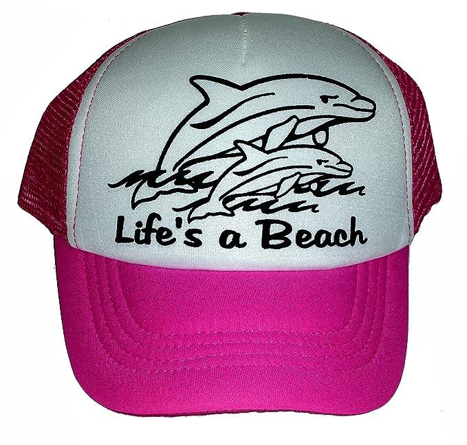 b6f07bc919a1a4 Amazon.com: Kid's Toddler Life's a Beach Dolphin Snapback Mesh ...