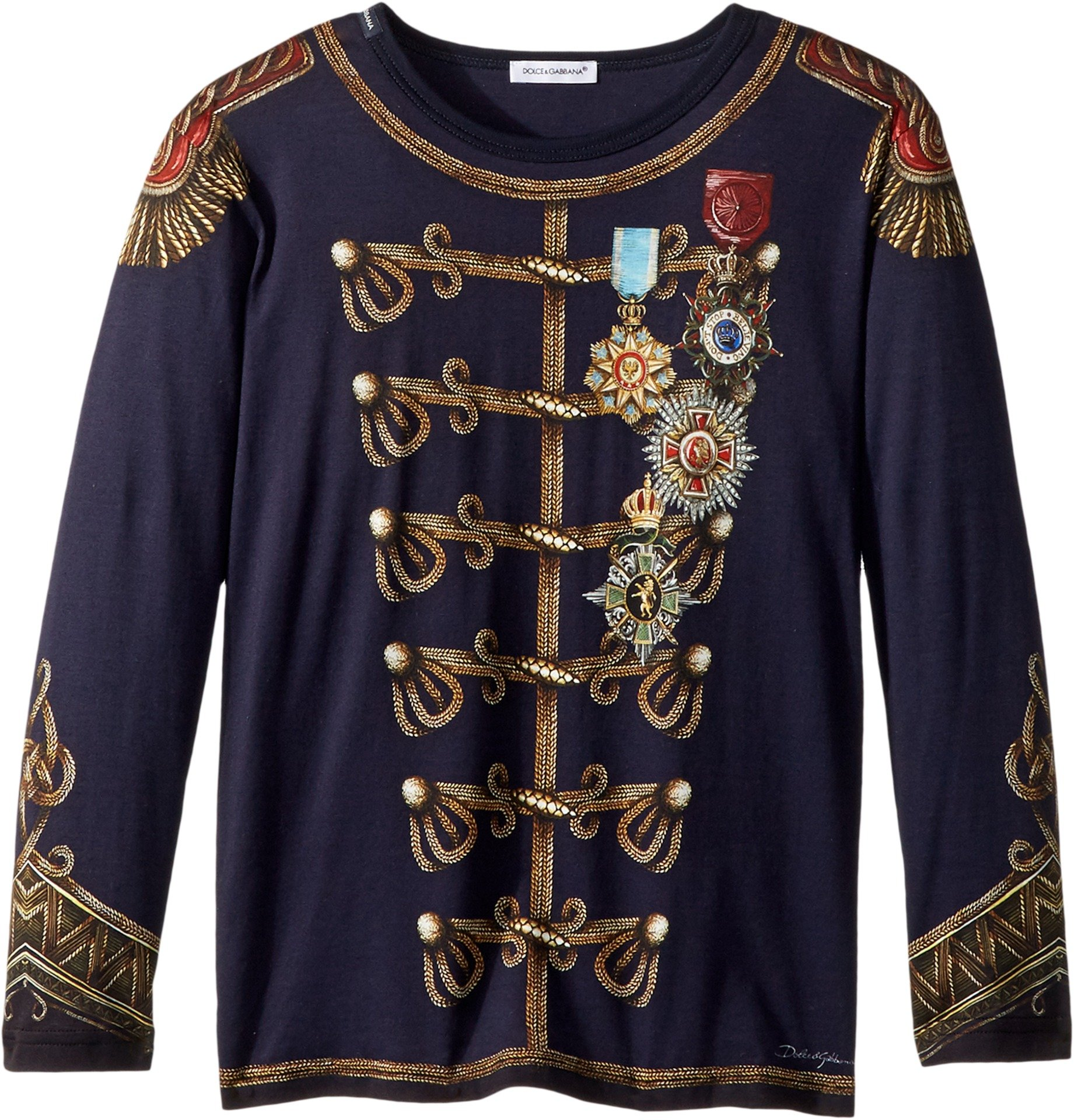Dolce & Gabbana Kids  Baby Boy's Heraldic Long Sleeve T-Shirt (Toddler/Little Kids) Blue 6