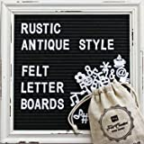 Black Felt Letter Board with Rustic White Wood Vintage Frame and Stand by Felt Creative Home Goods | 10x10 Inch Antique Changeable Message Board Includes 340 White Alphabet Letters, Numbers, Emojis