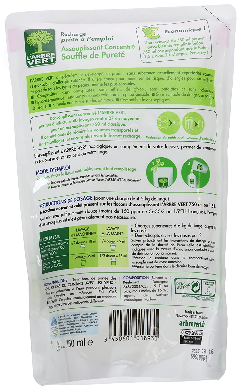 LArbre Vert - Suavizante para el cuidado de la ropa (recarga 40 ...