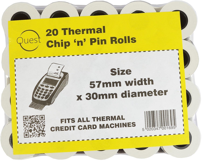 Quest 20 termica chip 'N' pin rotoli Dimensioni: 57 MMX30 MM Fits all termica di credito machines