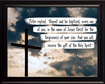 Acts 238 Repent And Be Baptized - Christian Poster Print Picture or  sc 1 st  Amazon.com & Amazon.com: Acts 2:38 Repent And Be Baptized - Christian Poster ...