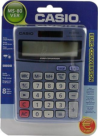 MS80TV Casio Calculator Euro Desktop Battery Solar-power 8 Digit 3 Key Memory
