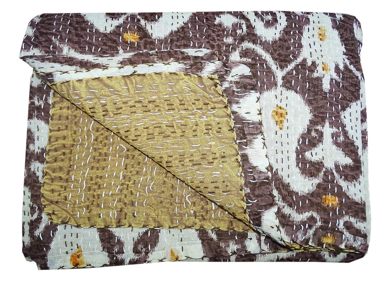 Bhavya International Indian Handmade Paisley Cotton Kantha Quilt Brown Bedspread Throw Single Size Bedcover Blanket Gudari Ralii Deco