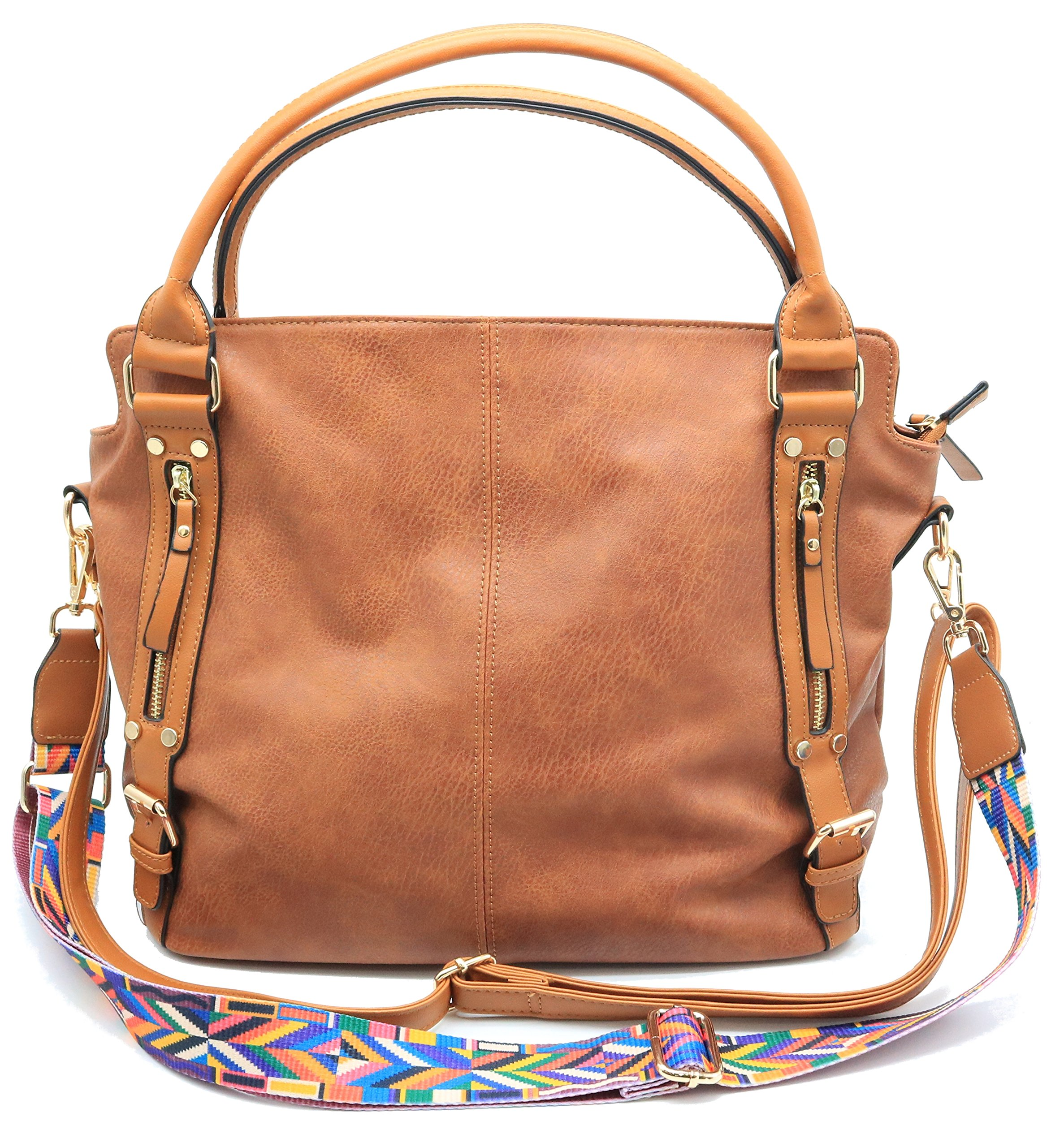 Codyna Womens Large Hobo Handbags [ PU Leather ] with Guitar Style Strap for Shoulder Bag Tote (Brown)