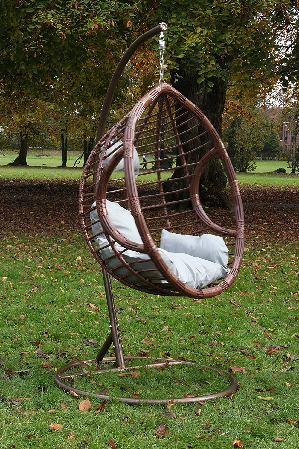 Simplehome C Rattan Swing Egg Chair Garden Patio Indoor Outdoor Hanging Chair With Stand Cushion Brown 150kg Capacity Amazon Co Uk Garden Outdoors