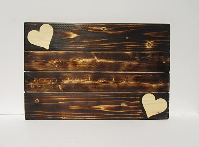 Rustic Wood Sign Blank Burning Hearts Torched