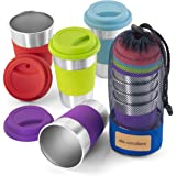 Stainless Steel Cup Tumbler Set Cold Drink Cups Good for Drinking Beer Water & Soft Drinks Comes with Blue Mesh Carry Bag for Camping Backpacking Picnic Outdoors