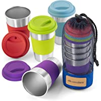 Stainless Steel Cup Tumbler Set Cold Drink Cups Good for Drinking Beer Water & Soft Drinks Comes with Blue Mesh Carry…