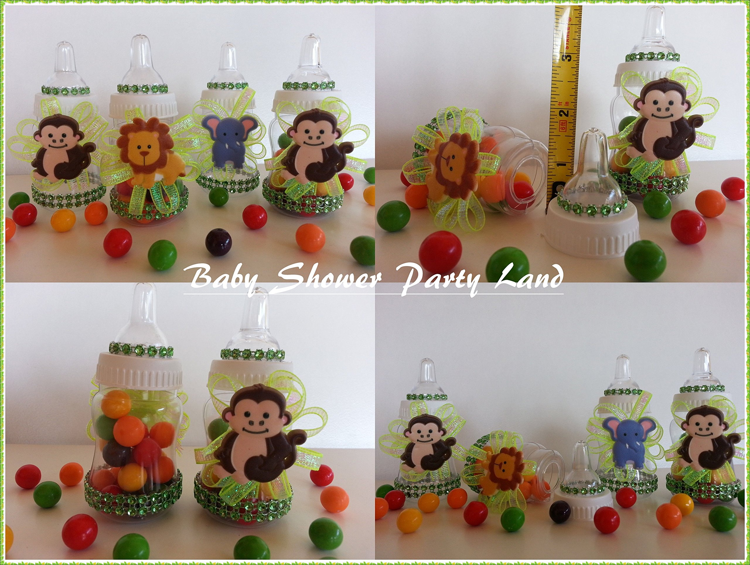 12 Fillable Bottles Baby Shower Favors Prizes Games Safari Jungle-Noah's Animals by Baby Shower Party Land