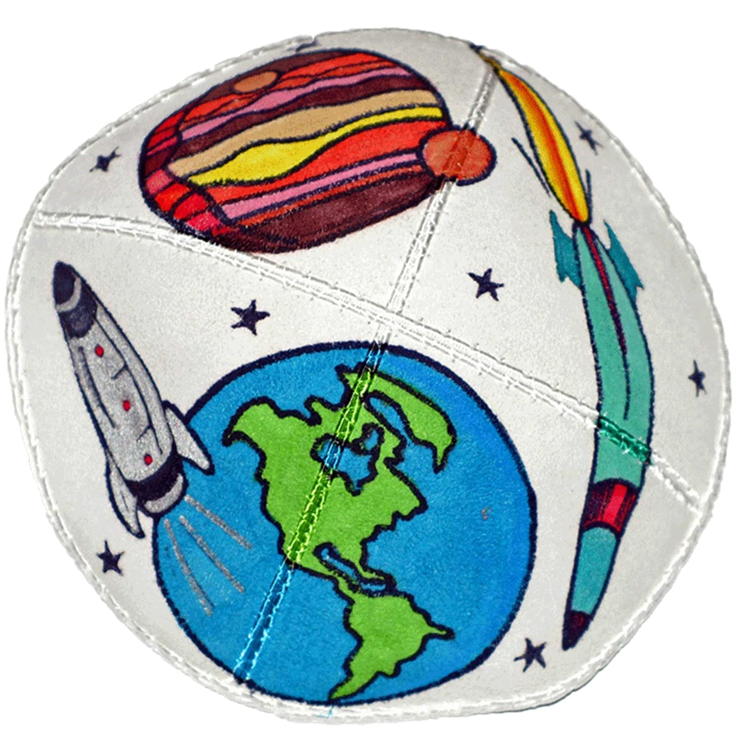 Hand-painted Kippah (Yarmulke) with a Space Theme