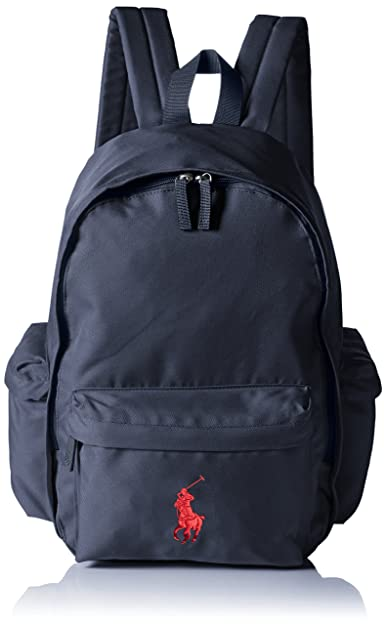 Polo Ralph Lauren Men s Classic Pony Backpack Shoulder Bag Blue Blau  (newport navy-red 8fb5d14bfadc3