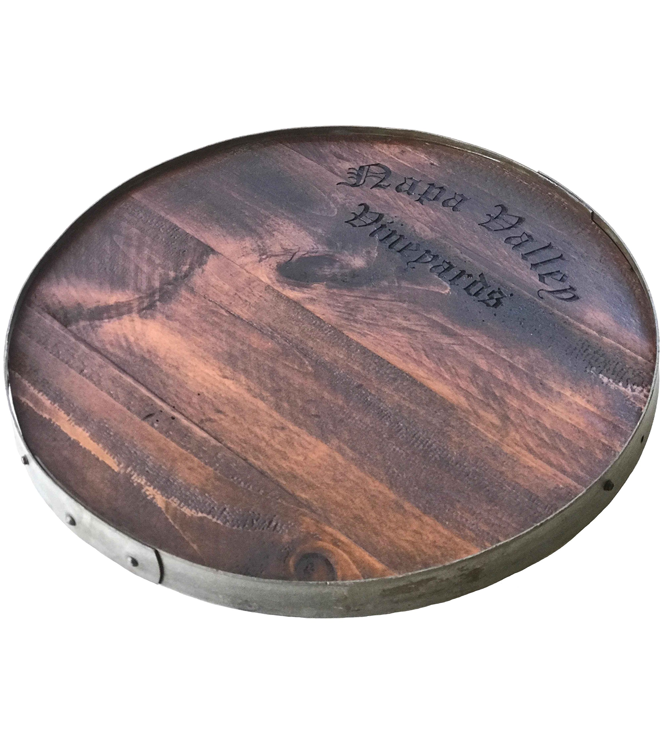 Napa Valley Vineyards Wine Barrel Lazy Susan with Barrel Ring Lip, 20-Inches Diameter by Rustic Wall Co.