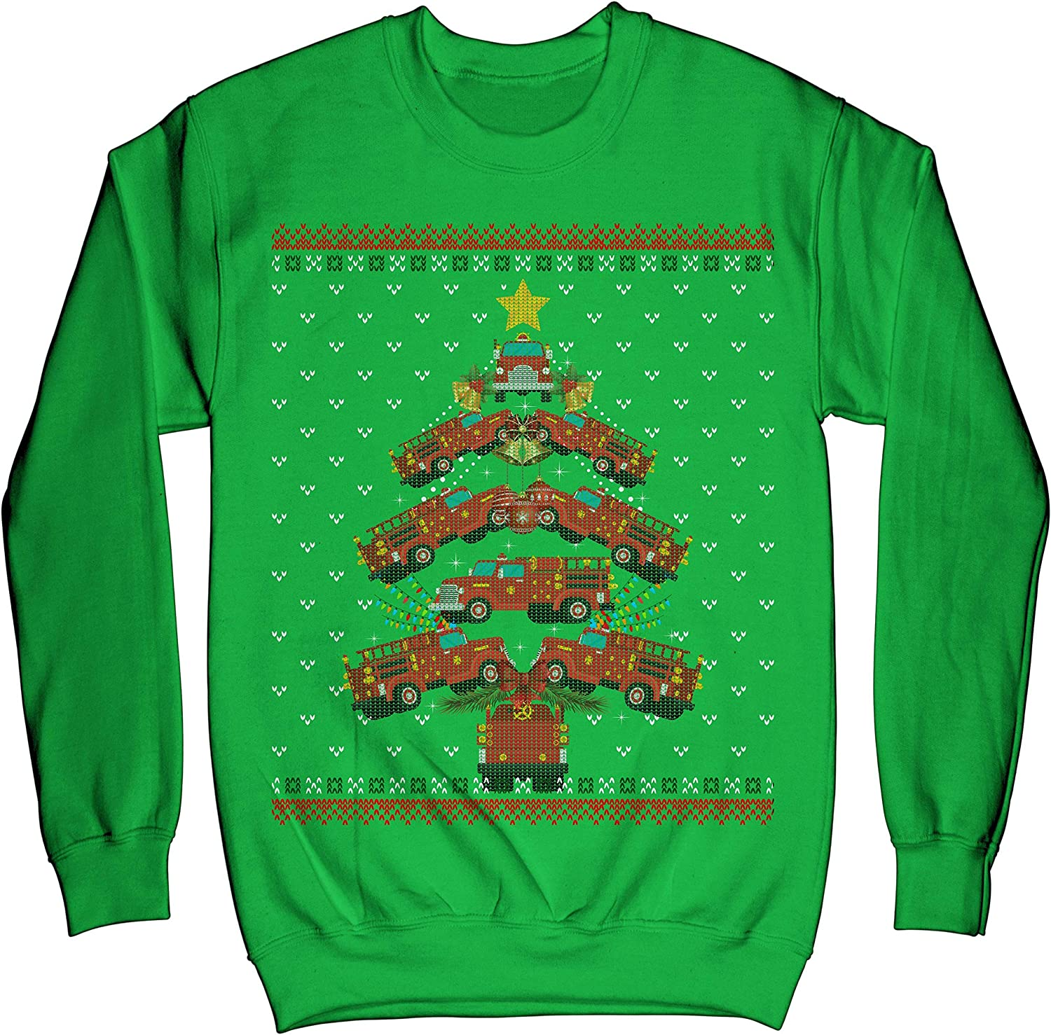 TeeLucky Just A Girl Who Loves A Firefighter and Christmas Ugly Sweater Sweatshirts