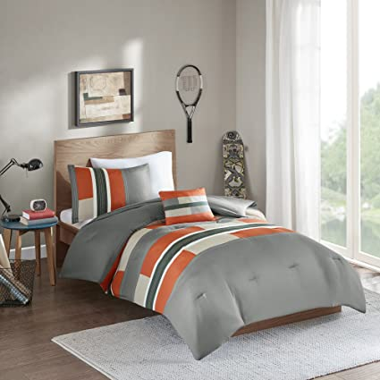 Review Comfort Spaces - Pierre Comforter Set - 4 Piece - Gray/Orange - Multi-Color pipeline Panels - Perfect For Dormitory - Boys - Full/Queen size, includes 1 Comforter, 2 Shams, 1 Decorative Pillow