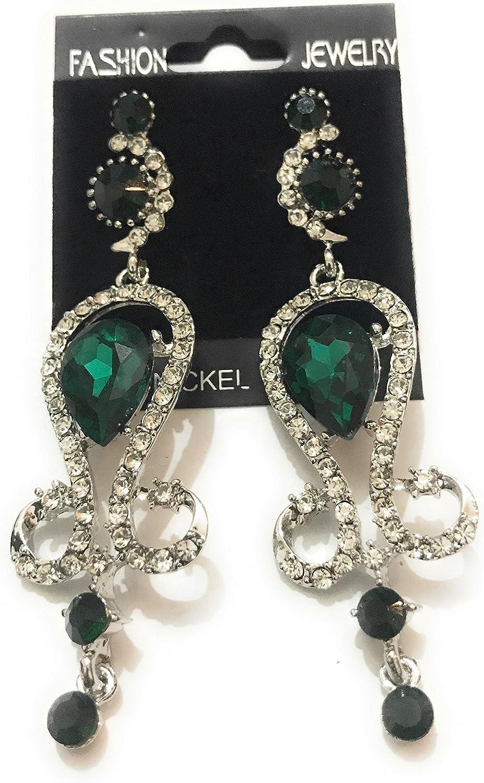 Diamante Cristal Rhinestone Plata / Esmeralda Verde Pendientes de ...