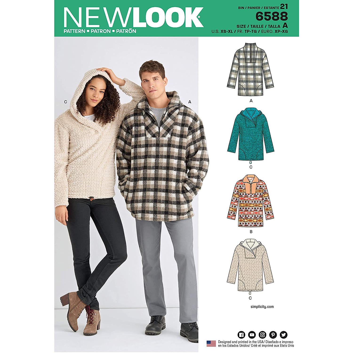 NEW LOOK Sewing Pattern 6588 - Unisex Tops, A (XS-S-M-L-XL)