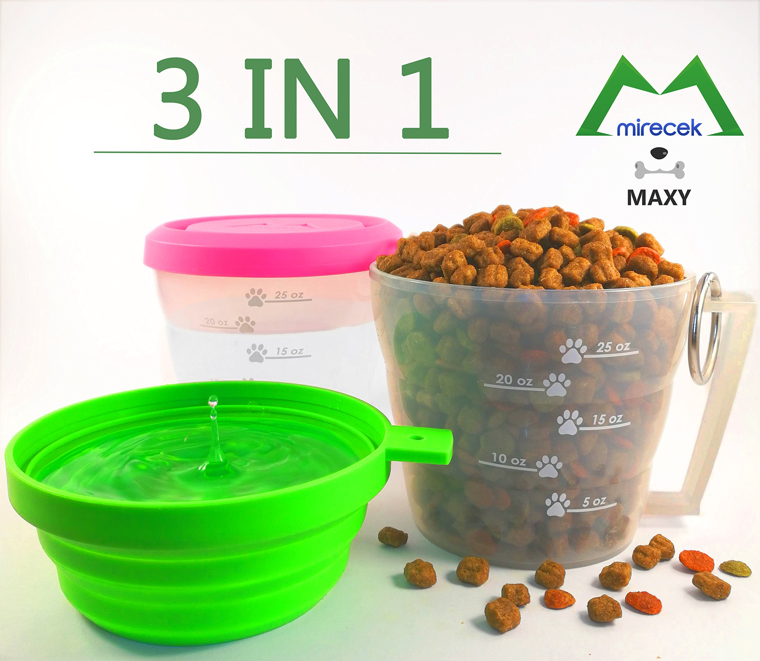 Premium Travel Dog Food Container. Collapsible Dog Bowl. Dog Food Measuring Cup. Perfect Gift for Dog. Durable Plastic. Universal Size. Dishwasher Free, BPA Free. FDA Approved. MAXY by Mirecek