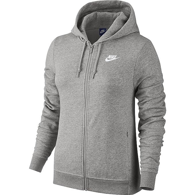Nike W NSW FZ FT Sudadera, Mujer, Gris dk Grey Heather/White ...