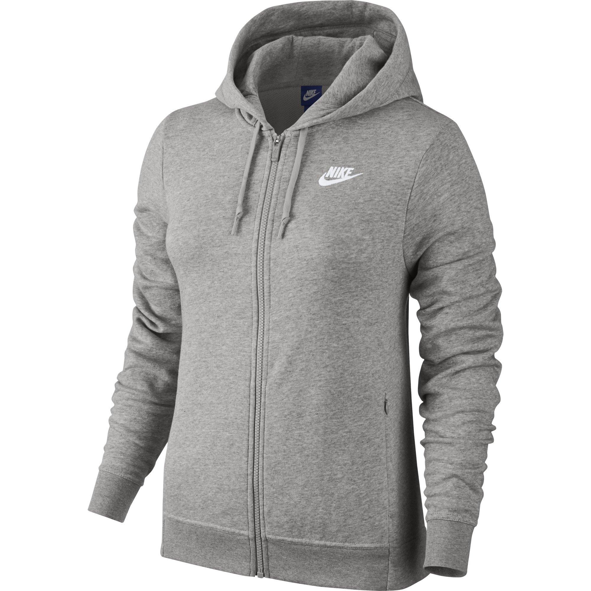 NIKE Sportswear Women's Full Zip Hoodie, Dark Grey Heather/Dark Grey Heather/White, Medium