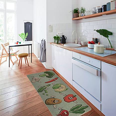 Amazon.com : Non-Slip Kitchen Mat Rug Polyester Kitchen Floor Mat ...